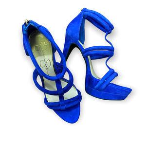Jessica Simpson Solena T-strap Royal Blue Platform Heels Size 6.5